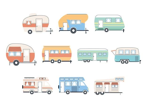Wohnmobilanhänger und lieferwagen-symbolgruppenentwurf des abenteuertransport- und reisethemas des karawanenreiselagers vektorillustration Premium Vektoren