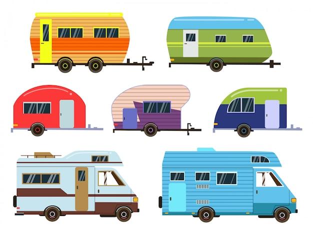 Wohnmobile autos eingestellt. verschiedene resort-trailer. vektorbilder im flachen stil Premium Vektoren