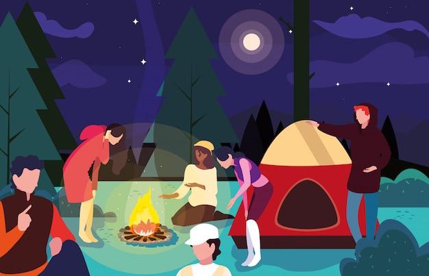 Wohnmobile in der campingzone mit zelt- und lagerfeuernachtszene Premium Vektoren