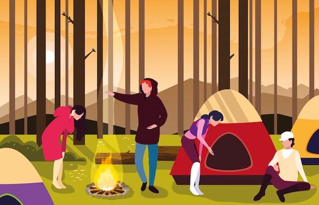 Wohnmobile in der campingzone mit zelt- und lagerfeuersonnenuntergangszene Premium Vektoren