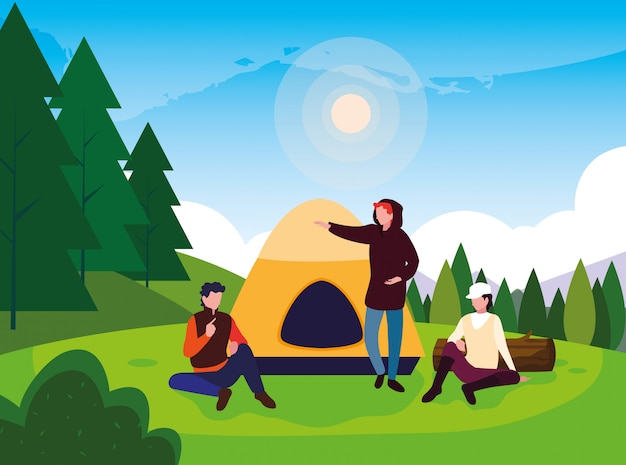 Wohnmobile in der campingzone mit zelttageslandschaft Premium Vektoren