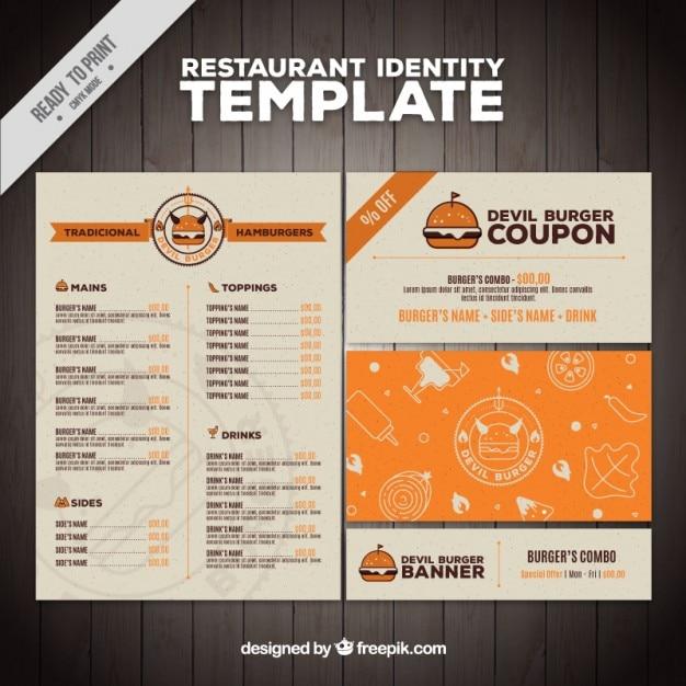 Wohnung burger-restaurant-menü Kostenlosen Vektoren