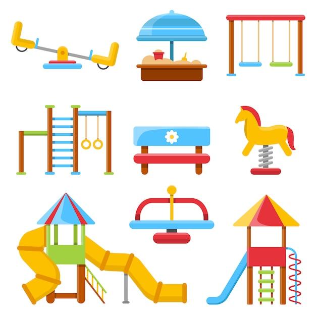 Wohnung des kinderspielplatzes mit verschiedener ausrüstung Premium Vektoren