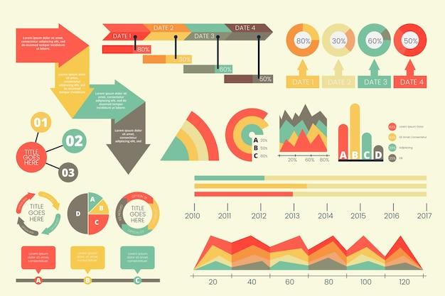 Wohnung infografik mit retro-farben Kostenlosen Vektoren
