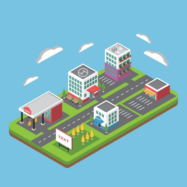 Wohnung isometrische stadt Kostenlosen Vektoren