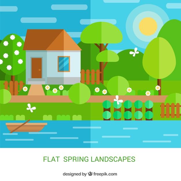 Wohnung niedlich landschaft mit einem haus download der for Wohnung dekorieren spielen kostenlos