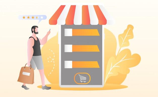 Wohnung online-shopping-illustration Premium Vektoren