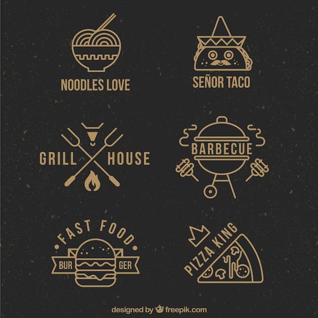 Wohnung restaurant logo collection Premium Vektoren
