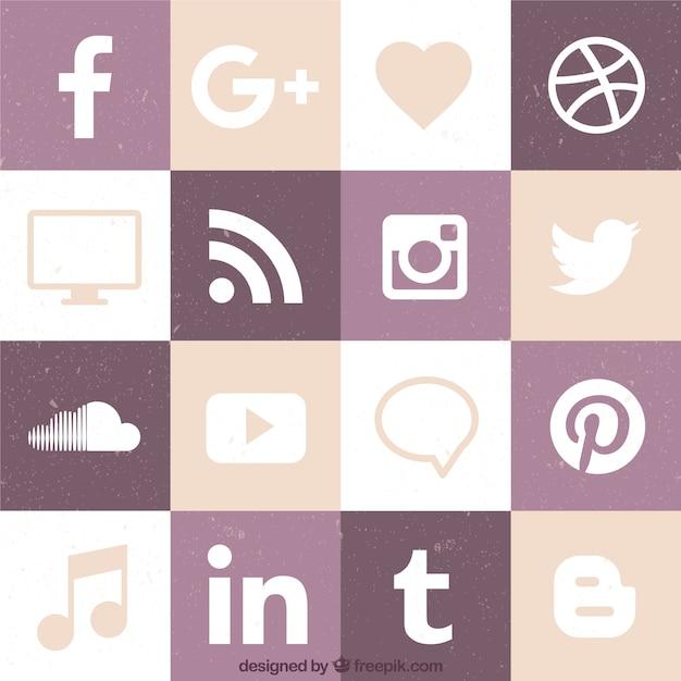 Wohnung social-networking-icon-sammlung Kostenlosen Vektoren