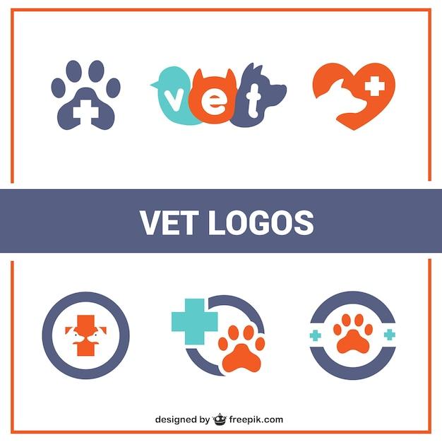 Wohnung vet logos Kostenlosen Vektoren