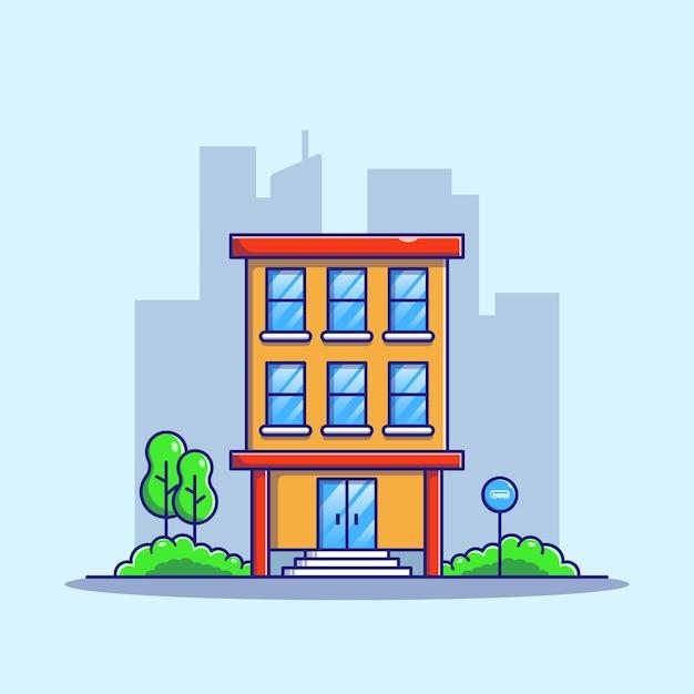 Wohnung vor der straße mit bushaltestelle zu vermieten und zu verkaufen mit stadt landschaft hintergrund Premium Vektoren