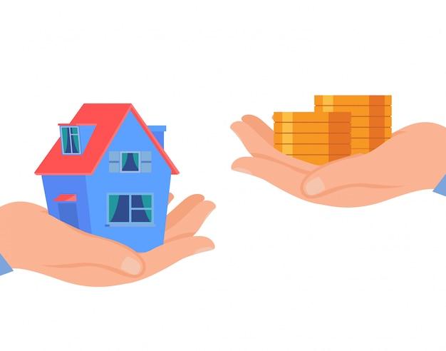 Wohnungsbaudarlehen, flache vektor-illustration der hausmiete Premium Vektoren