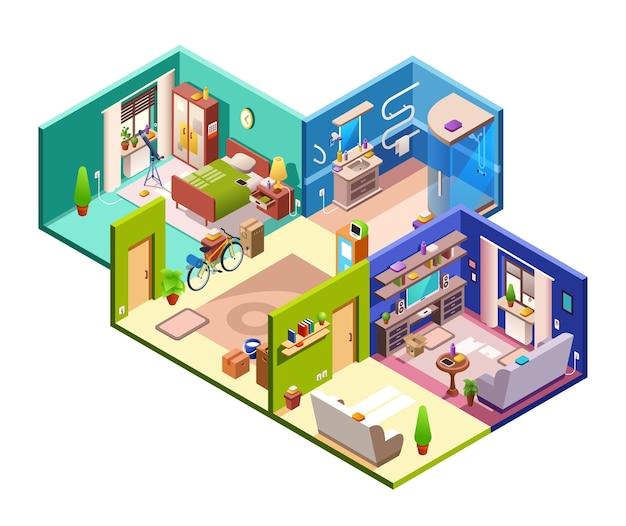 Wohnungsquerschnittabbildung des modernen flachen planes. Kostenlosen Vektoren