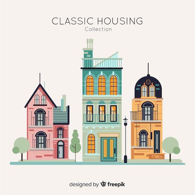 Wohnungssammlung im flachen stil Kostenlosen Vektoren