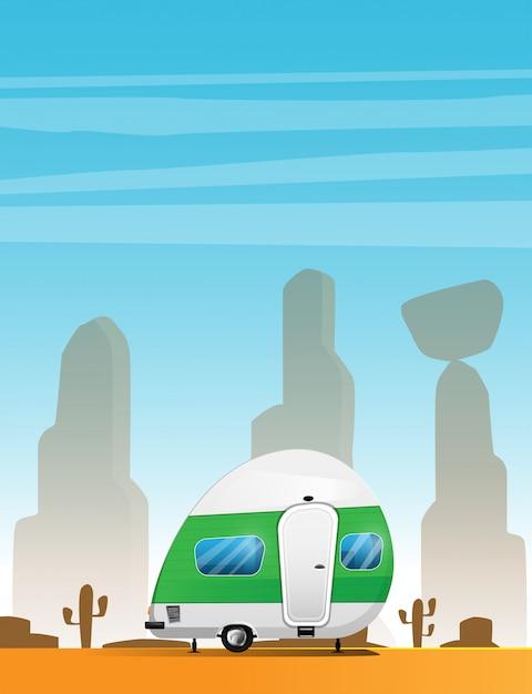 Wohnwagen. reisender lkw-wohnmobil. ferien-rv-illustration lokalisiert auf sommer Premium Vektoren