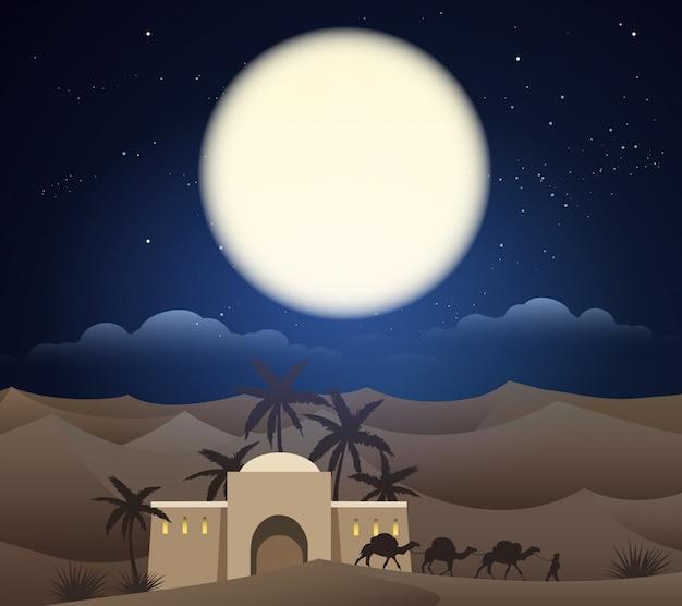 Wohnwagen von kamelen in sahara, illustration Premium Vektoren