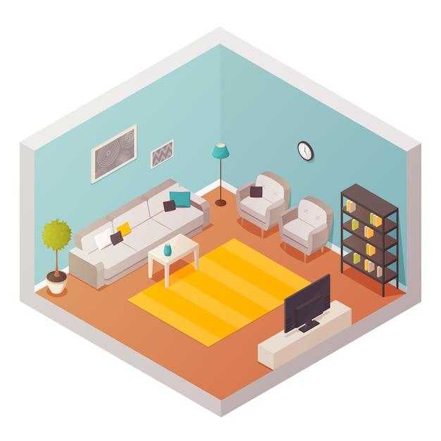 Wohnzimmer-design-komposition Kostenlosen Vektoren