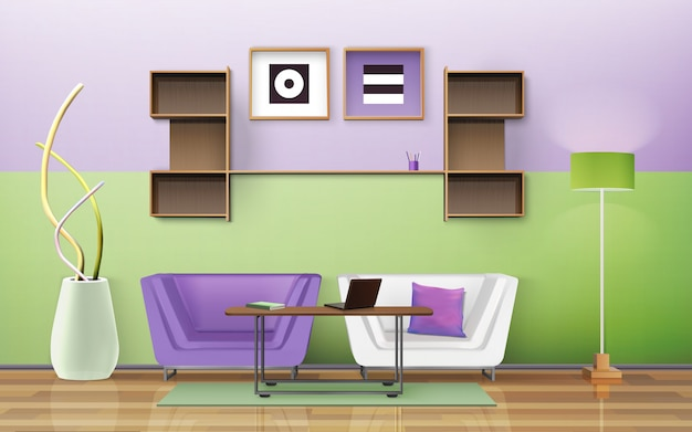 Wohnzimmer design Kostenlosen Vektoren