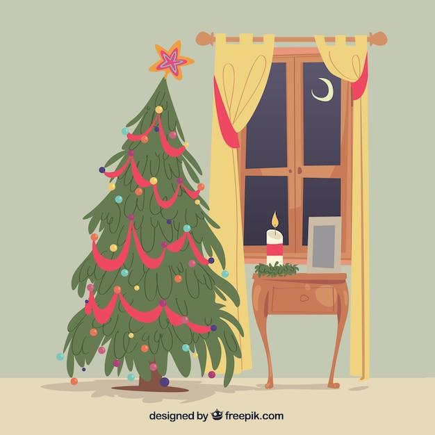 Wohnzimmer Hintergrund Mit Weihnachtsbaum Kostenlose Vektoren