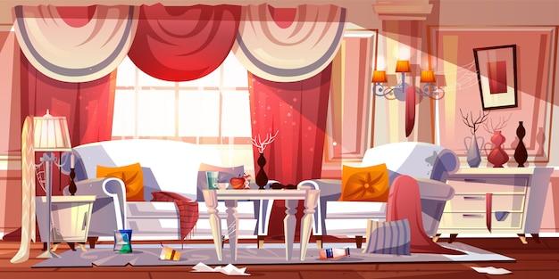Wohnzimmer im klassischen provence-stil mit schrecklichem durcheinander Kostenlosen Vektoren