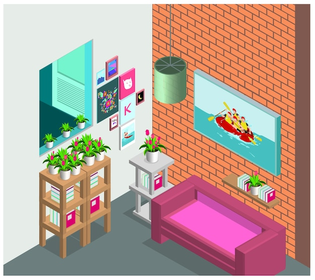 Wohnzimmer Innenraum Skandinavischen Stil Premium Vektoren