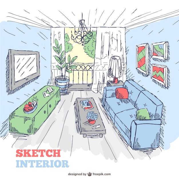 Wohnzimmer Innenraum Skizze Doodle Kostenlose Vektoren