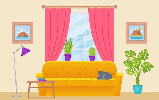 Wohnzimmer interieur, lounge mit möbeln, fenster, katze, home hintergrund cartoon hausausstattung, Premium Vektoren