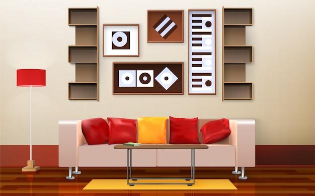 Wohnzimmer interior design Kostenlosen Vektoren