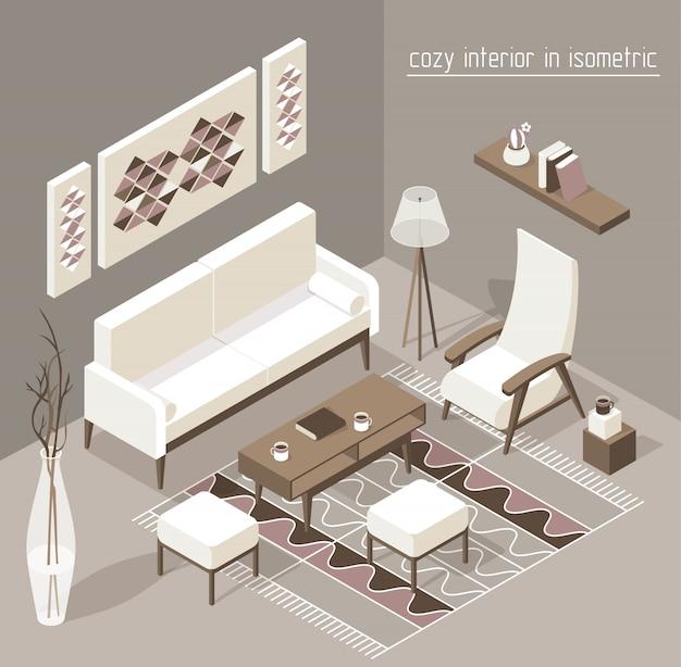 Wohnzimmer isometrisch Premium Vektoren