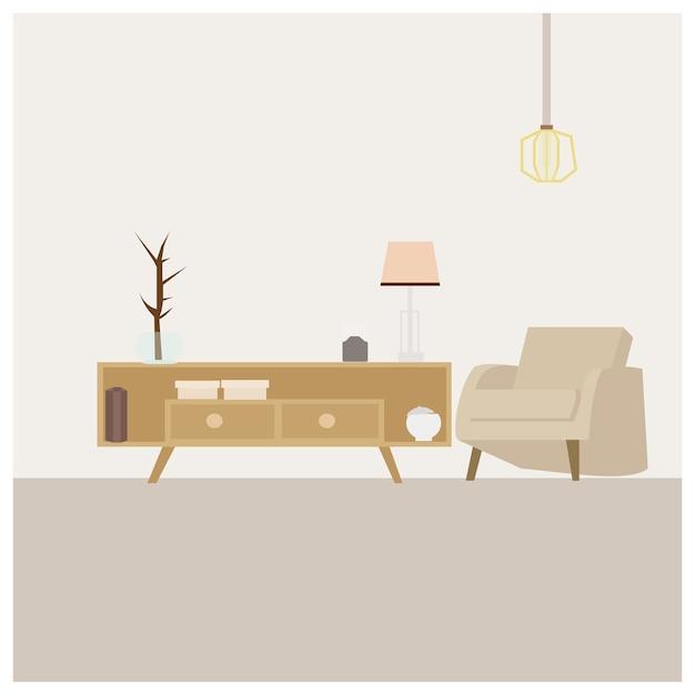 Wohnzimmer Minimalistisch Download Der Premium Vektor