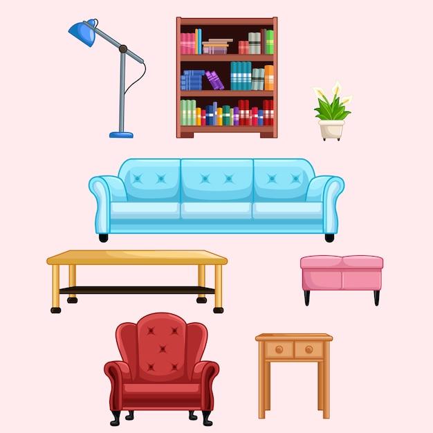 Wohnzimmer Möbel Set Premium Vektoren