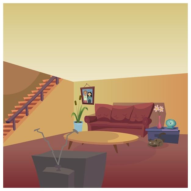 Wohnzimmergestaltung Kostenlose Vektoren