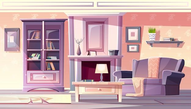 Wohnzimmerinnenillustration der wohnung in weinlese französischer provence gemütlich bequem Kostenlosen Vektoren