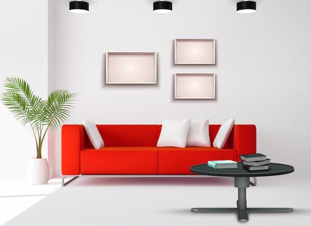 Wohnzimmerraumbild mit rotem sofa ergänzte realistische hauptdesignillustration der weißen schwarzen innendetails Kostenlosen Vektoren