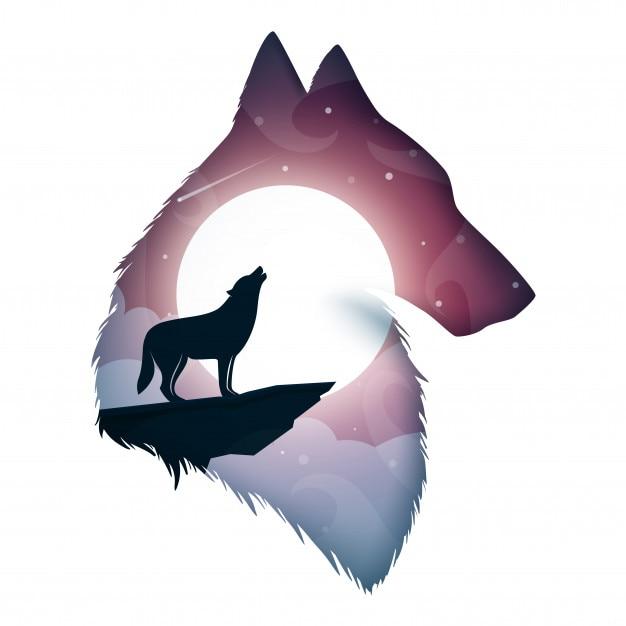 Wolf abbildung Premium Vektoren