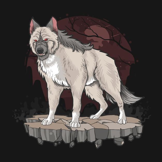 Wolf beast hund heftig Premium Vektoren