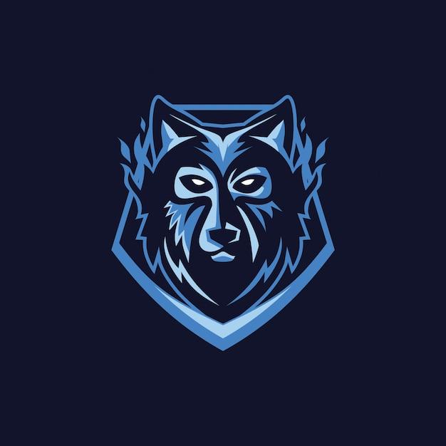 Wolf-gesichts-maskoten-logo Premium Vektoren