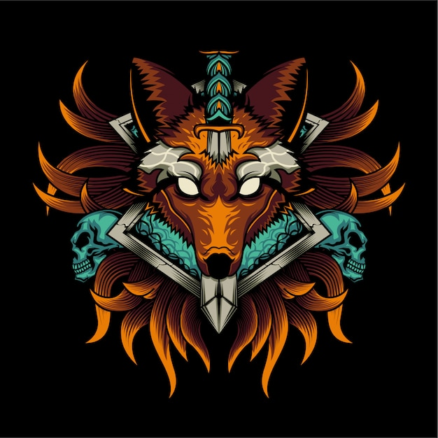 Wolf illustration Premium Vektoren
