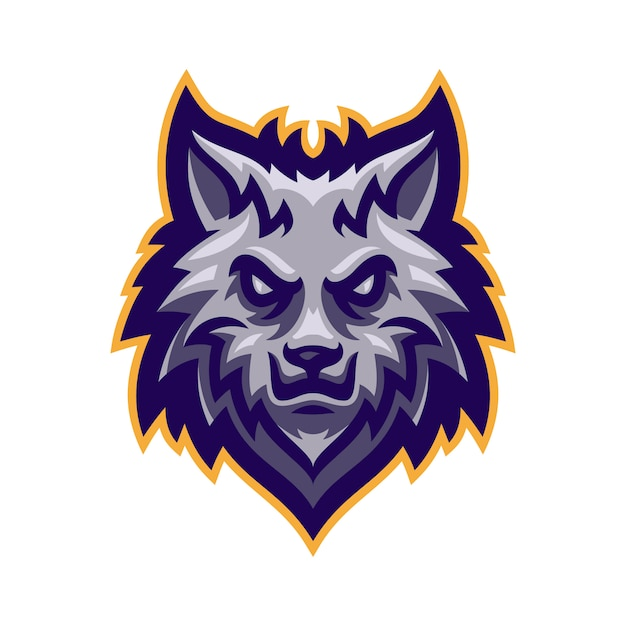 Wolf kopf maskottchen logo vektor Premium Vektoren
