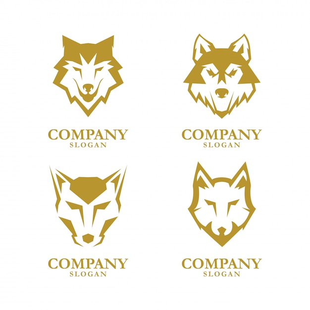 Wolf-logo-design Premium Vektoren