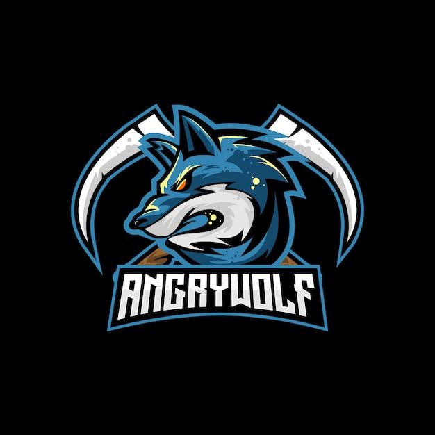Wolf mit scythe crossed vector für esport-logo oder spielmaskoten Premium Vektoren