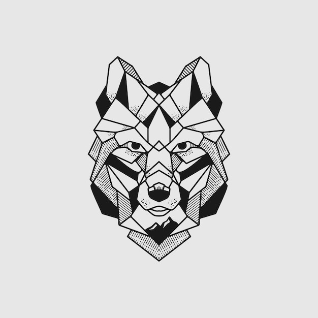 Wolf poly line illustration Premium Vektoren