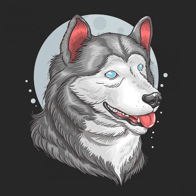 Wolf siberian huskey-grafik mit blauen augen Premium Vektoren