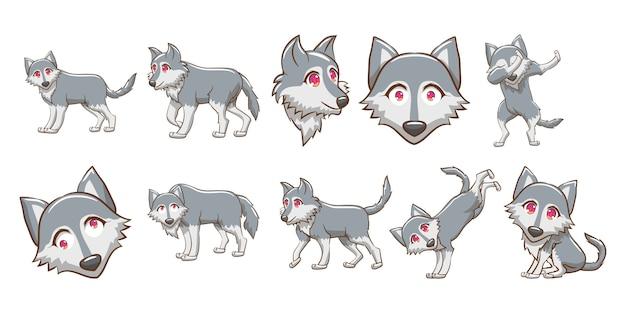 Wolf vektor festgelegt clipart Premium Vektoren