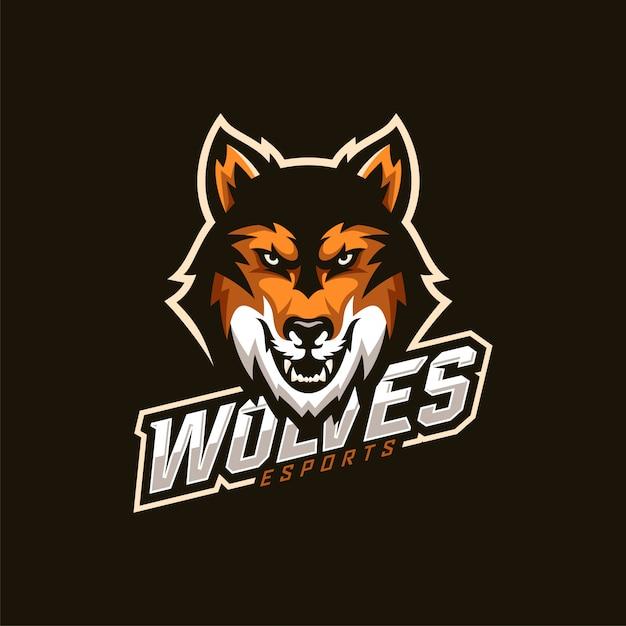 Wolfskopf esport maskottchen logo Premium Vektoren
