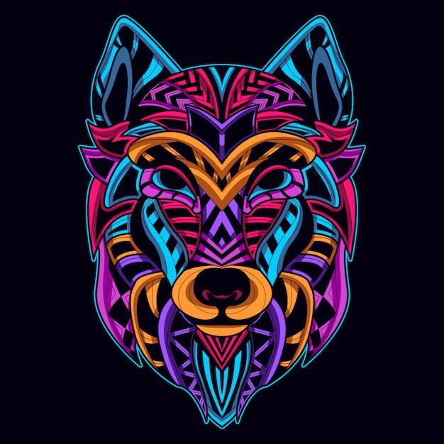 Wolfskopf im neonfarben-kunststil Premium Vektoren