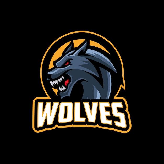 Wolfskopf modernes maskottchen sport logo und team Premium Vektoren