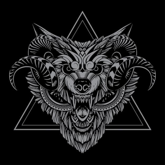 Wolfstierillustration und t-shirt design Premium Vektoren