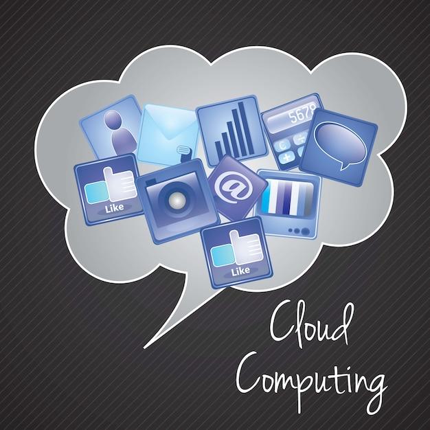Wolke, die mit ikonen apps (graue blaue und schwarze farben) vektorabbildung rechnet Premium Vektoren