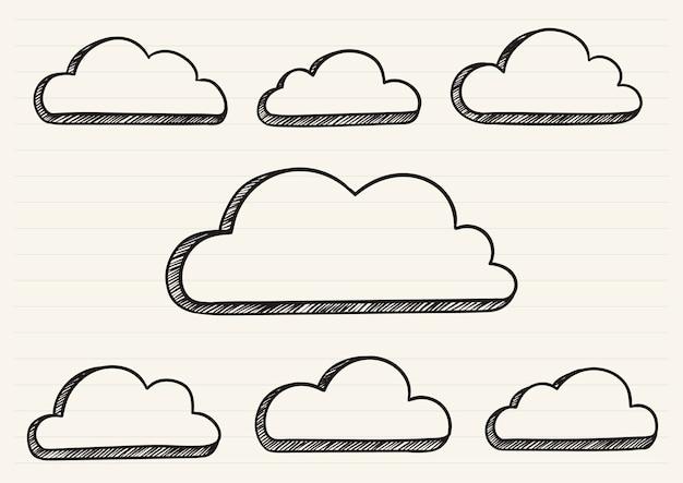 Wolken kritzelten auf einen notizblock Kostenlosen Vektoren
